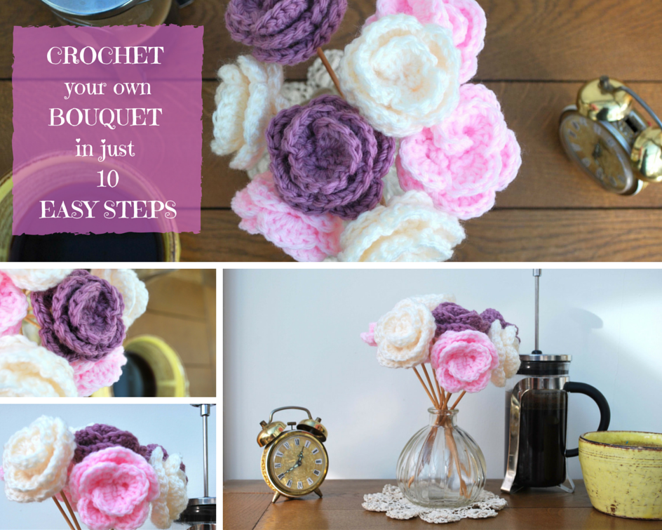 Easy crochet flower bouquet – free pattern! | Pernickitywitch